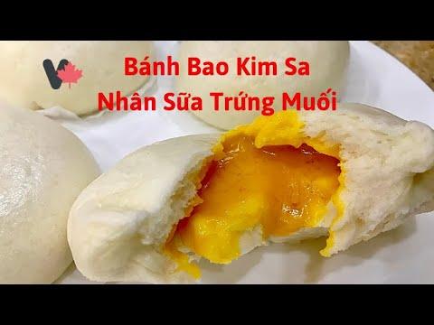 Bánh Bao Kim Sa Nhân Sữa Trứng Muối. Bánh Bao Cade làm tại Canada. Salted Egg Custard Steamed Buns