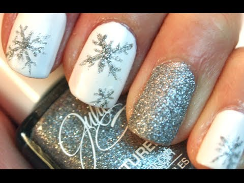 simple snowflake nails
