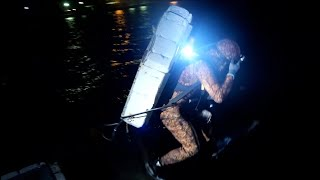 Into Sea At Night. Out To Life-Risking Skin-Dive Fishing!