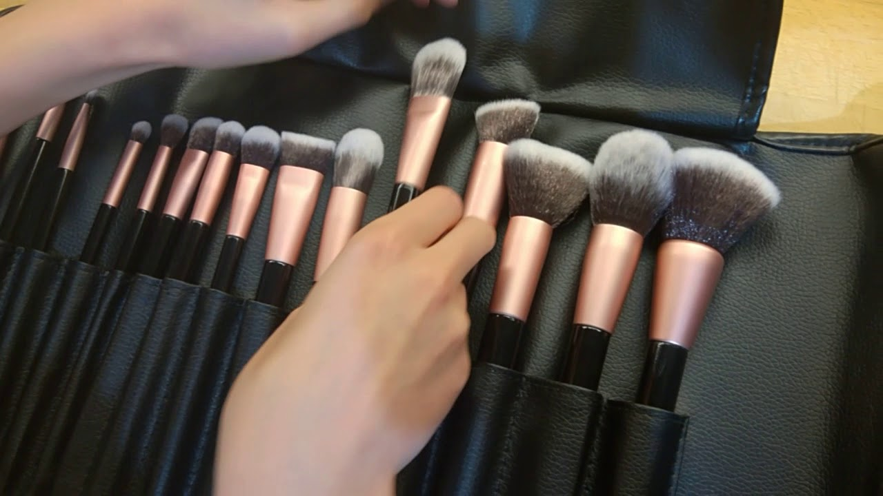 anjou 16 piece professional cosmetic brushes youtube. Black Bedroom Furniture Sets. Home Design Ideas