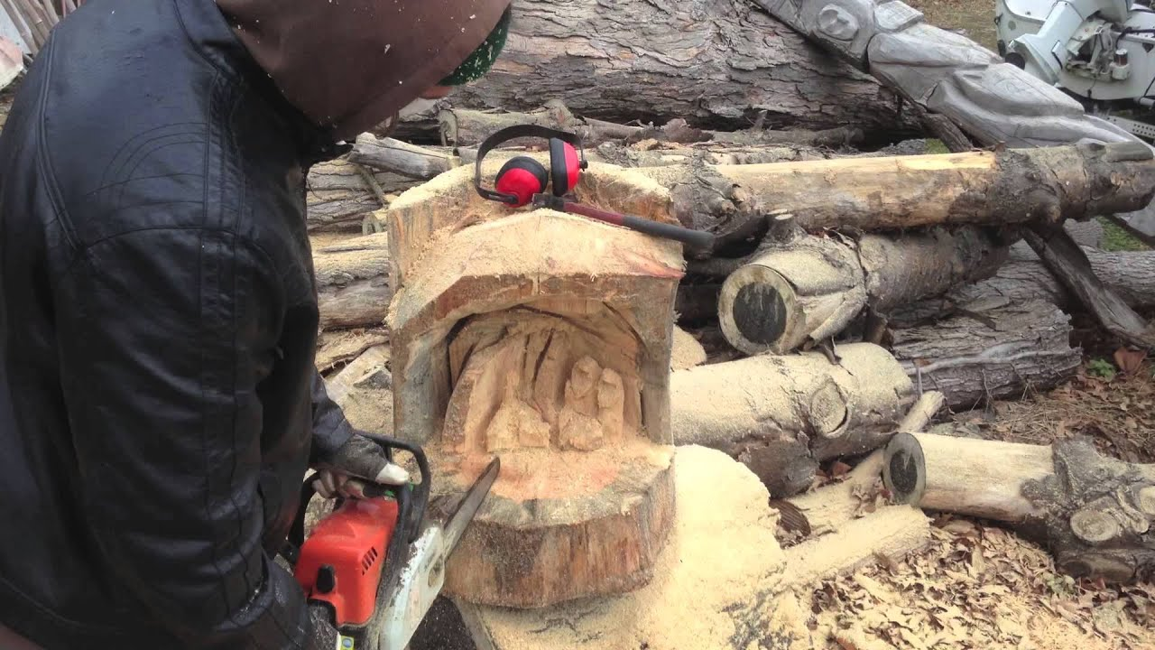 Chainsaw carving nativity scene youtube