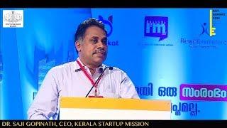 DR. SAJI GOPINATH, CEO, KERALA STARTUP MISSION - delivering Keynote speech at KEY SUMMIT 2018