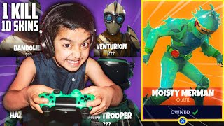 1 KILL - 10 NEW SKINS CHALLENGE WITH MY 5 YEAR OLD LITTLE BROTHER! KID WINS LEAKED FORTNITE SKINS