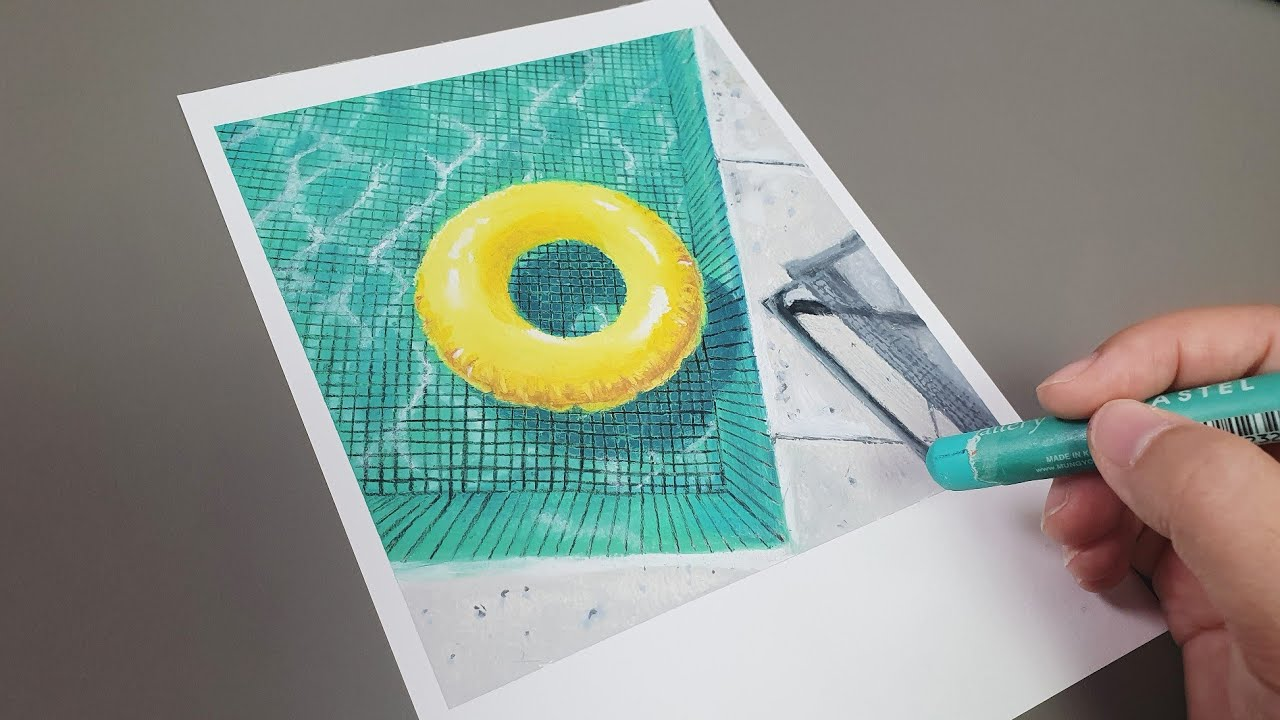 오일파스텔로 수영장 그리기2/Drawing a swimming pool with an oil pastel