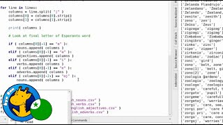 Creating plaintext Esperanto word lists (noun/verb/etc.) (Áya Dan / Esperanto)