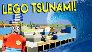 LEGO TSUNAMI DESTROYS LEGO TOWN! - Brick Rigs Gameplay Challenge - Lego City Disaster Survival