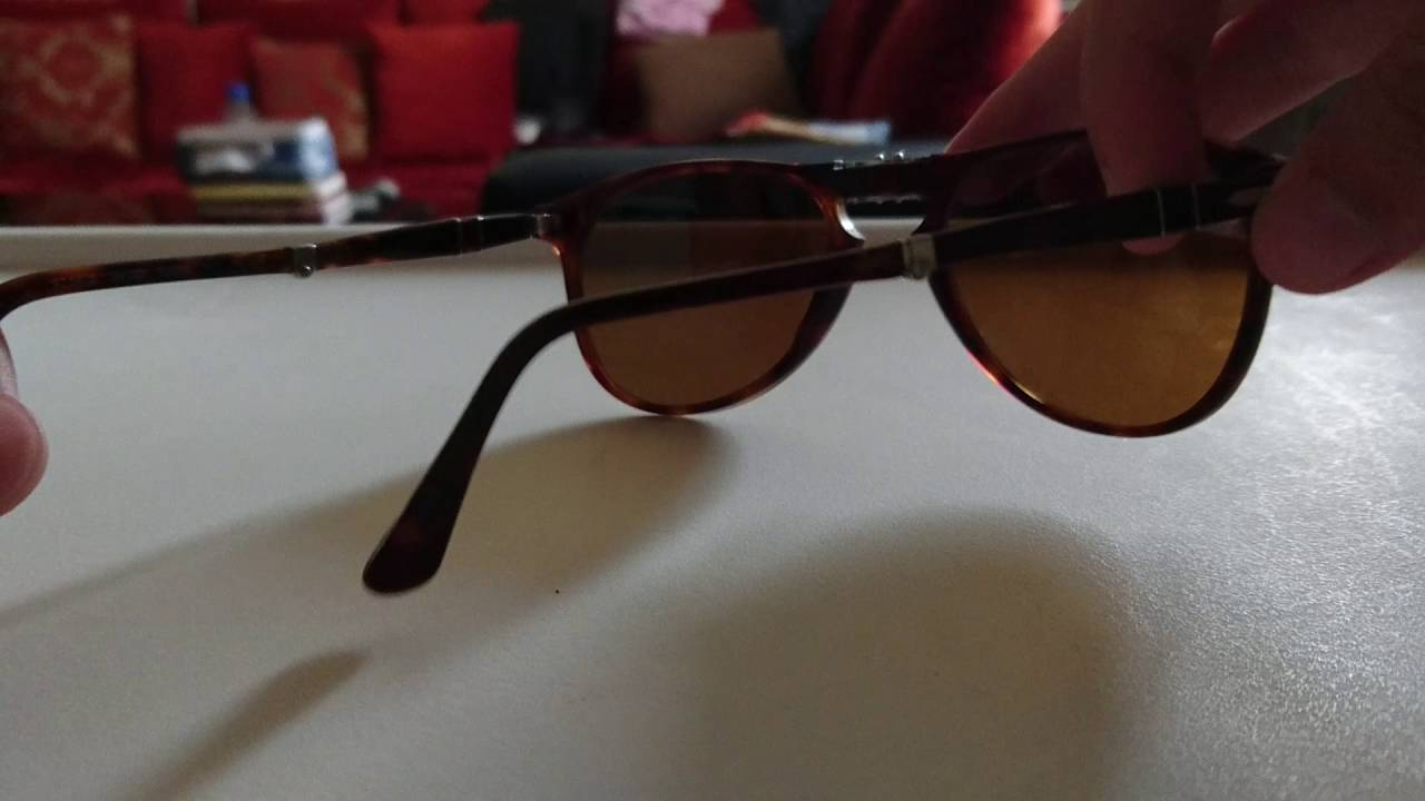 bfe2b7009a292 Persol 9714 24 33 Size 52 folding Havana sunglasses - YouTube