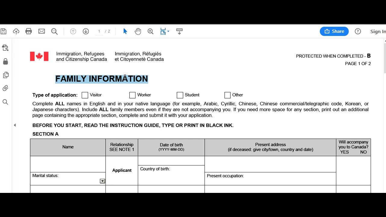 Imm 5645e Family Information Form Canada How To Fill Step By Step Full Information