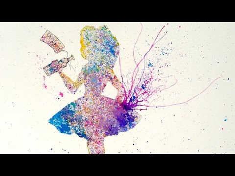 Alice in Wonderland Easy Acrylic Splatter Painting The Looki