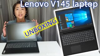 """Unboxing Lenovo V145 Laptop 15.6"""" HD AMD E2-9000 and starting it up for the first time -in real time"""