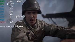 GPU@1650Mhz Ryzen 3 2200G Review Call of Duty: WWII Gameplay Benchmark. Vega 8 iGPU