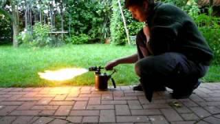Benzin Lötbrenner anheizen nach Reparatur Gasoline Burner Flammenwerfer