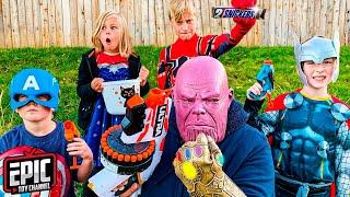 Nerf Battle: Avengers Hero Kidz vs Thanos - Pretend Play