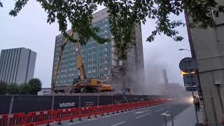 Hotel Silesia, Katowice - rozbiórka budynku, wyburzanie obiektu w jakości 4K