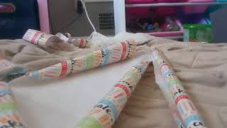 Wrapping presents for my friends bday party tomorrow!