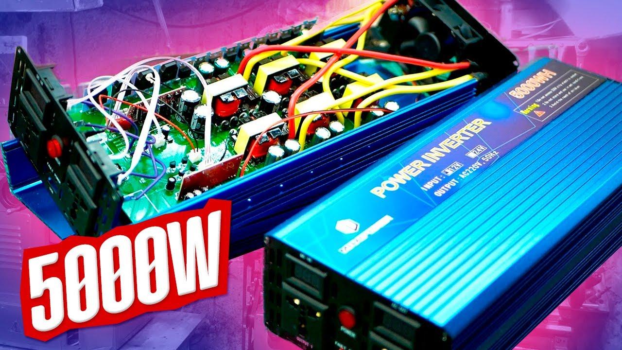 Мощный преобразователь 12-220 <b>5000W</b> обзор тест - YouTube