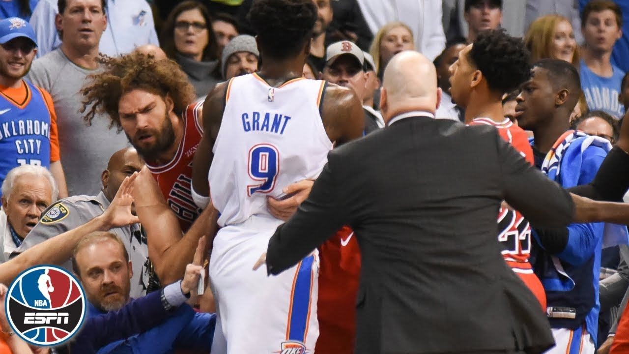a74b2eb8884 Tensions rise, Robin Lopez ejected as Thunder beat Bulls | NBA Highlights