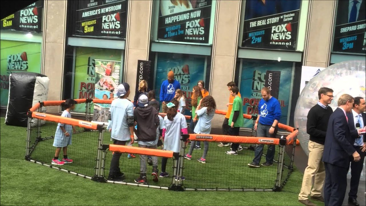 Elisabeth Hasselbeck playing in portable Mamba GaGa Ball Pit on Fox and  Friends