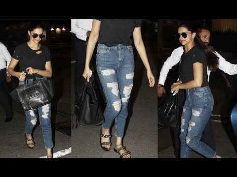 Deepika Padukone In Hot Shredded Jeans At The Mumbai Airport
