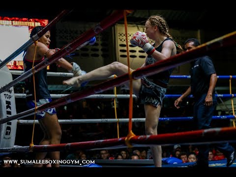 Brutal body shots delivered by Rhona Walker Sumalee at Patong Boxing Stadium, 28th December 2017