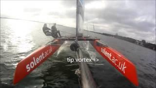 Whisper foiling catamaran foil testing