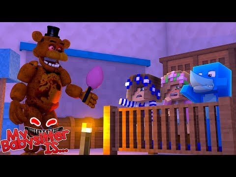 MY BABYSITTER IS.... FNAF FREDDY !!! Minecraft w/ Little Kelly, Little Carly and Sharky