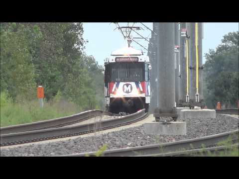St. Louis Metrolink:  Red Line Trains at the Metro Bike Link Path 9-6-14