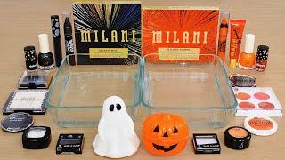 Halloween Ghosts & Pumpkins - Mixing Makeup Eyeshadow Into Slime ASMR 446 Satisfying Slime Video