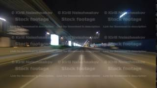 Road and tunnel on the Palm Jumeirah island in Dubai at night, UAE timelapse