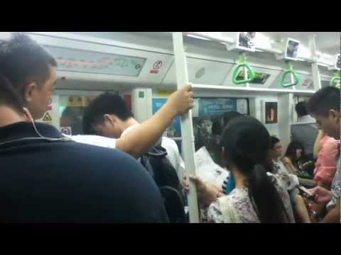 Crowd on the Metro Train in Shenzhen China