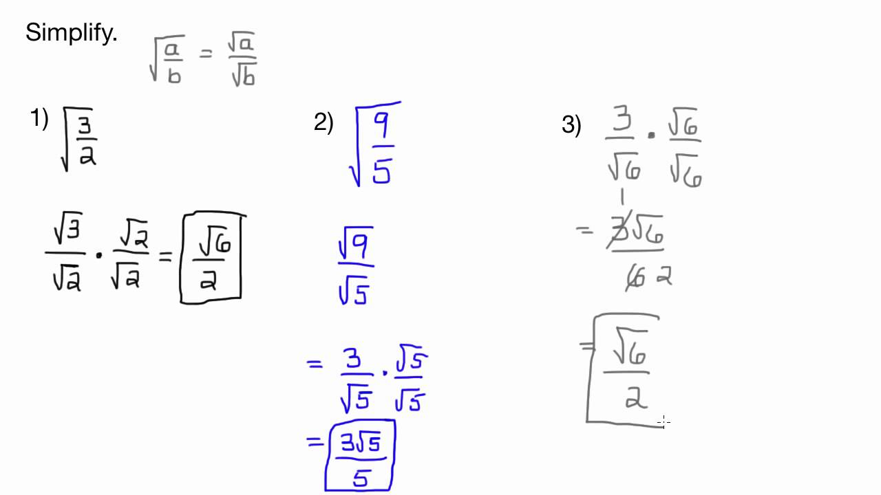 Simplifying Radicals in Fractions-Square Root-No Variables