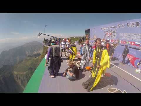 """Wingsuit BASE-jumping competition in China """"Wings for love"""" 2016. Russian team's jump"""