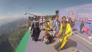 "Wingsuit BASE-jumping competition in China ""Wings for love"" 2016. Russian team"