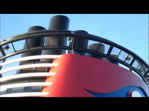 Disney Dream cruise ship playing melody horn while leaving Castaway Cay Bahamas