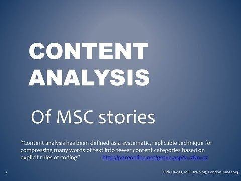 Content Analysis of Most Significant Change (MSC) stories