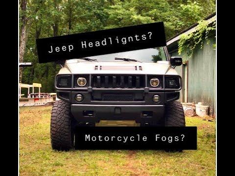 Jeep Headlights On My Hummer   Motorcycle Fog Light Install!
