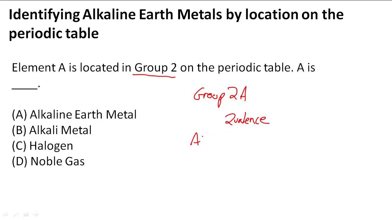 Identifying alkaline earth metals by location on the periodic table identifying alkaline earth metals by location on the periodic table youtube urtaz Gallery