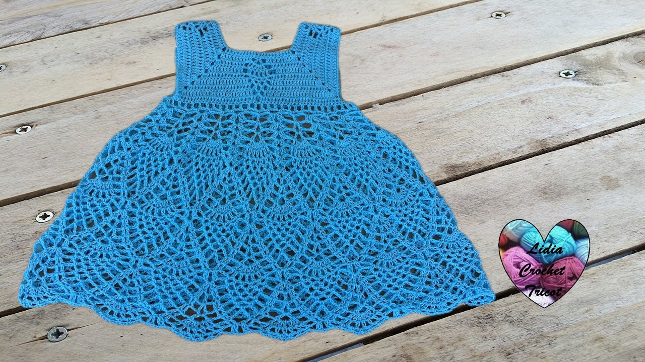 robe ananas fille au crochet 1 3 vestido pina ni a. Black Bedroom Furniture Sets. Home Design Ideas