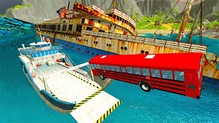 BeamNG drive - Throwing Cars Against Boats
