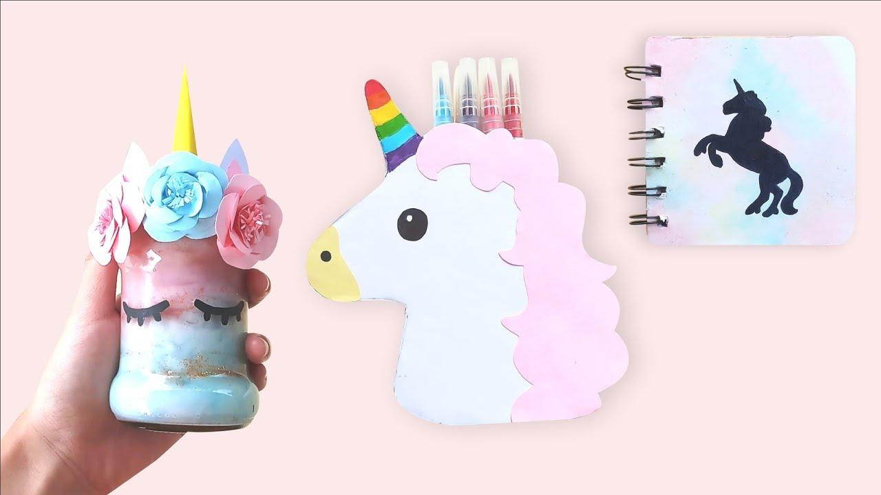 DIY UNICORN! DIY Room Decor and Notebook - DIY Dekorasi Kamar dan Buku  Unicorn
