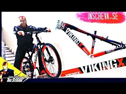 7776dbc9fc Bicicleta Vikingx Tuff 25 21v Freio A Disco aro 26 Azul   laranja   37 -  Geek Collection Figures