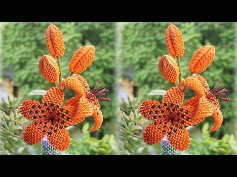 3D Origami Lily Tutorial   cómo hacer 3d origami lirio flor