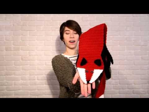 Red Fox Crochet Scarf, Winter accessory