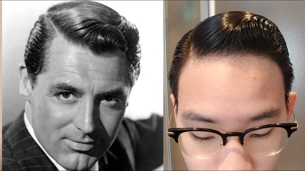 Cary Grant Hair Tutorial 1940s Side Part Executive Contour For