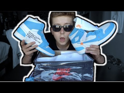 """AIR JORDAN 1 X OFF-WHITE """"UNC"""" IN HAND UNBOXING AND REVIEW! 