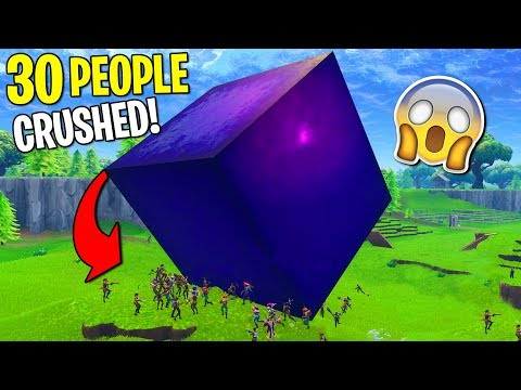 30 People VS GIANT PURPLE CUBE!  (spoiler: it crushes)
