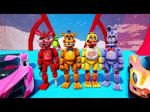 ALL ROCKSTAR ANIMATRONICS STUNT ON WORLD'S BIGGEST RAMPS EVER! (GTA 5 Mods For Kids FNAF RedHatter)