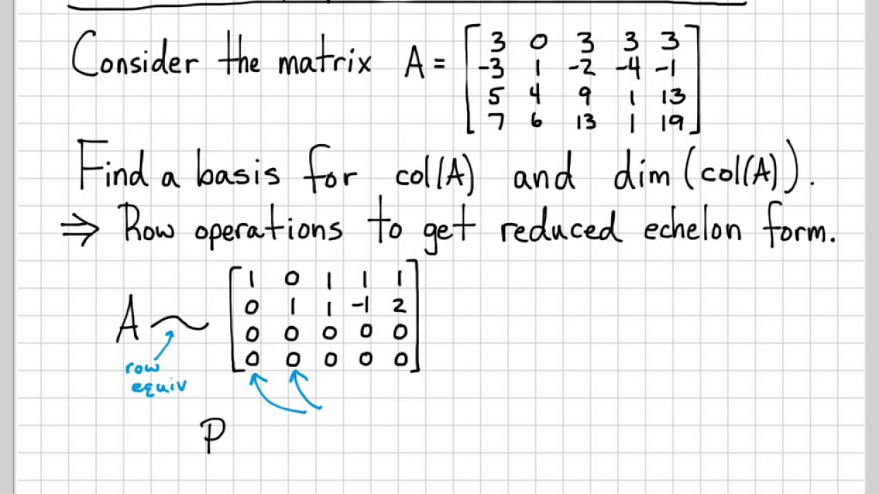 Linear Algebra Example Problems - Matrix Column Space Basis and Dimension