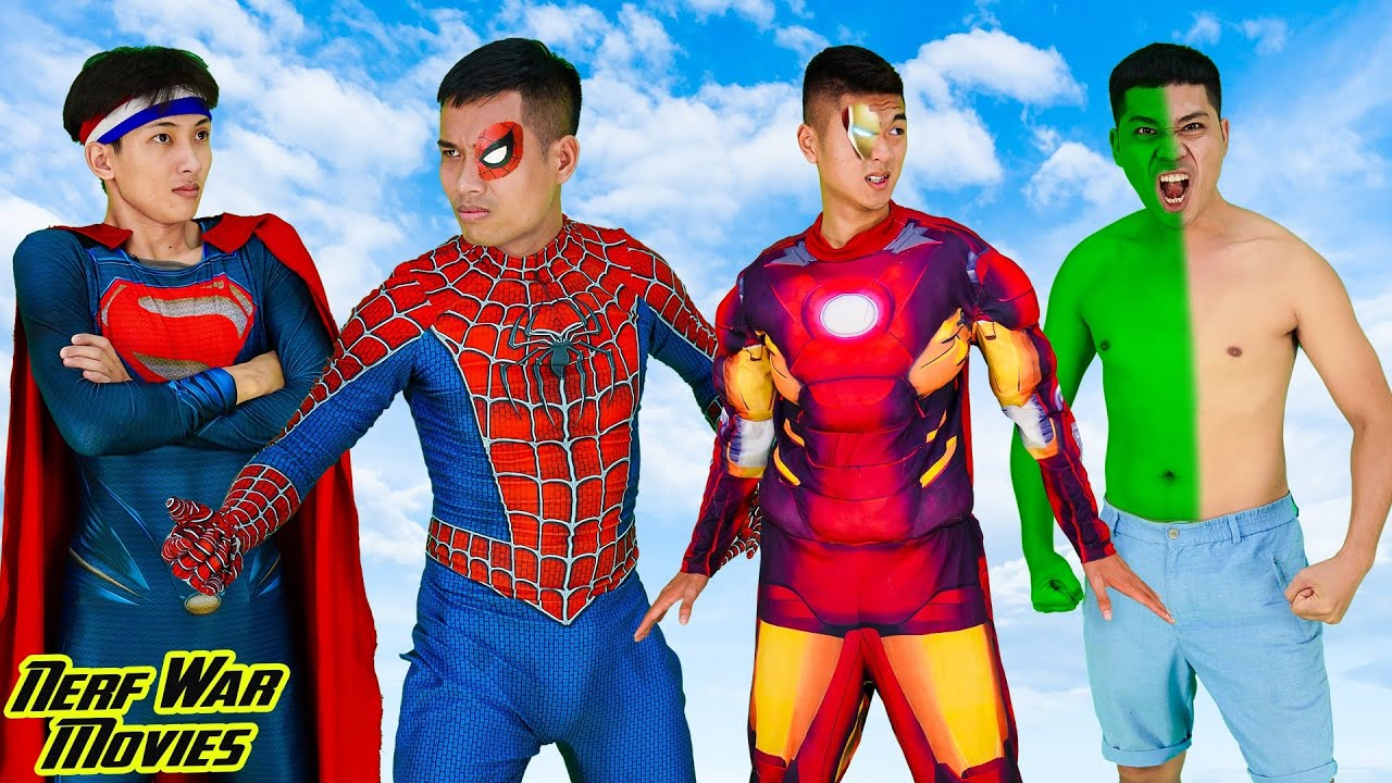 Nerf War Movies: Become Spiderman X Warriors Nerf Guns Fight Criminal Group Battle With Bad Guys