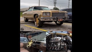 """#Goldie : Woo's 1975 Chevrolet Caprice Convertible on 26"""" Gold Wheels"""